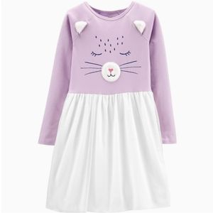 Carter's purple and white cat dress